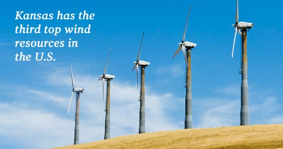 Kansas has the third top wind resources in the nation.